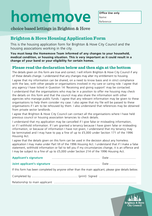 Housing Application Form - City of Brighton and Hove, West Sussex United Kingdom Download Pdf