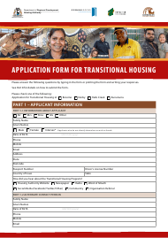 Application Form for Transitional Housing - Western Australia Australia