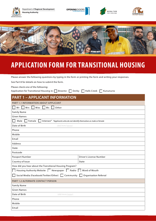 Application Form for Transitional Housing - Western Australia Australia Download Pdf