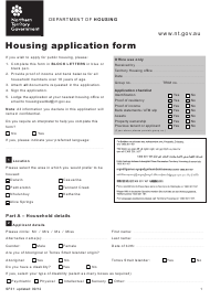 "Form SF31 ""Housing Application Form"" - Northern Territory, Australia"