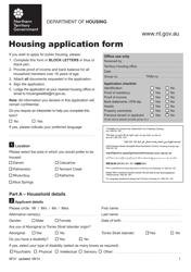 "Form SF31 ""Housing Application Form"" - Northern Territory, Australia"