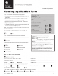 Form SF 31 Housing Application Form - Northern Territory