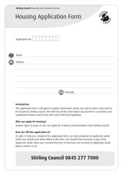 """Housing Application Form"" - Stirling, United Kingdom"