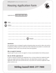 Housing Application Form - Stirling