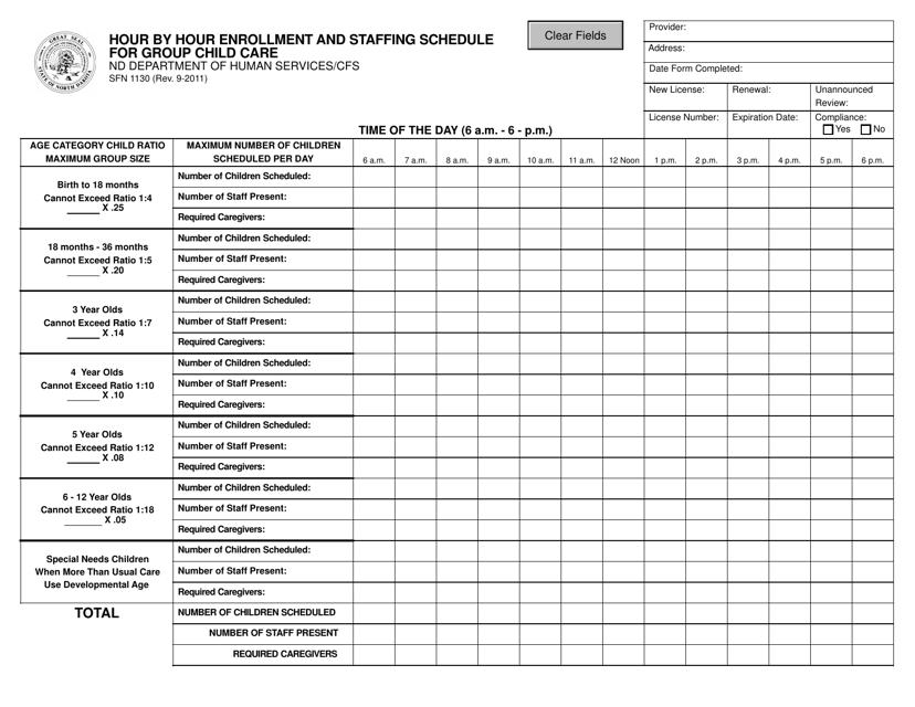 Form SFN1130  Printable Pdf
