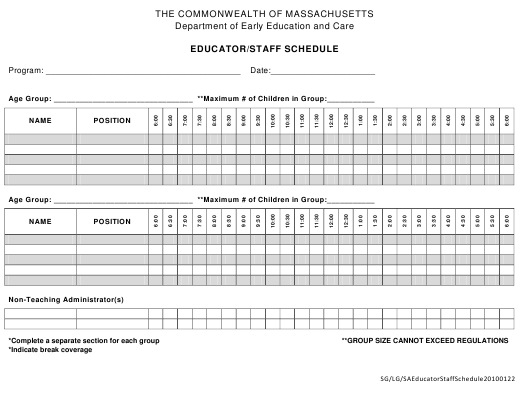 """Educator/Staff Schedule Template"" - Massachusetts Download Pdf"