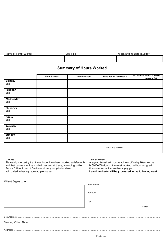 """Summary of Hours Worked Template"" Download Pdf"
