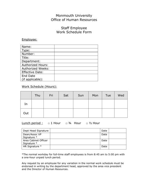 """""""Staff Employee Work Schedule Form"""" Download Pdf"""