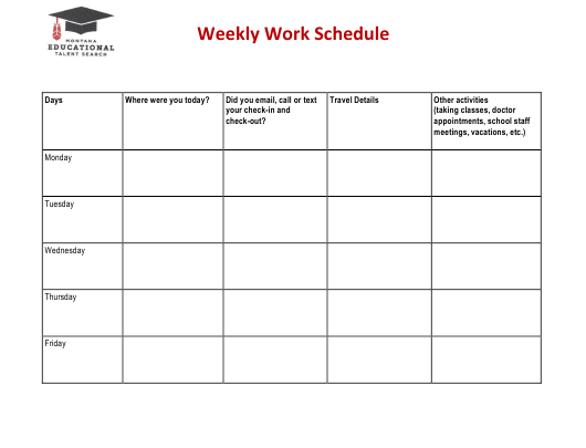 Weekly Work Schedule Template - Montana Educational Talent Seacrh Download Pdf