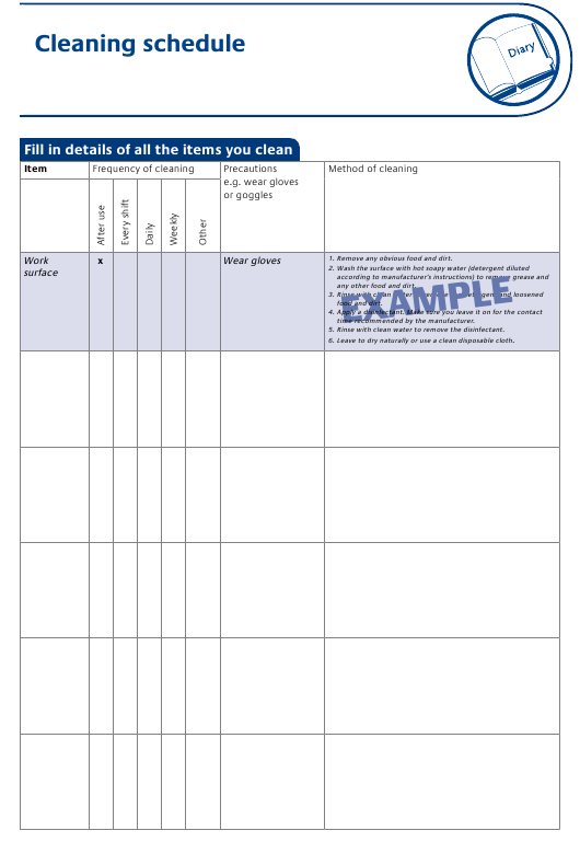 """""""Cleaning Schedule Template"""" Download Pdf"""