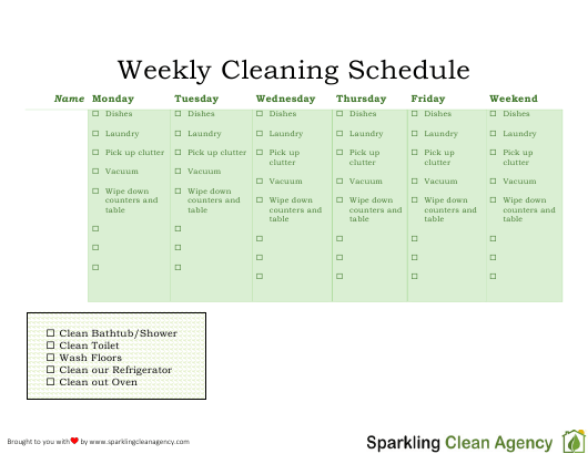 """""""Weekly Cleaning Schedule Template - Sparkling Clean Agency"""" Download Pdf"""