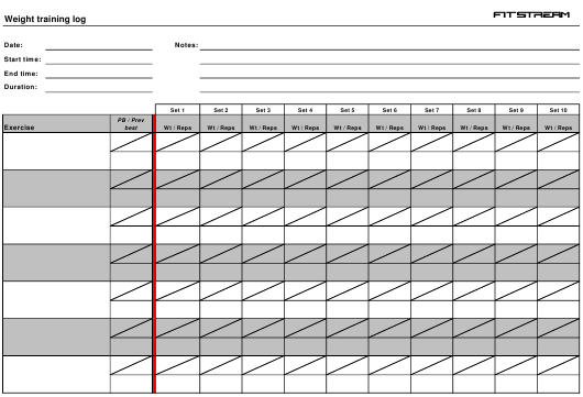 """Weight Training Log Template - Fitstream"" Download Pdf"