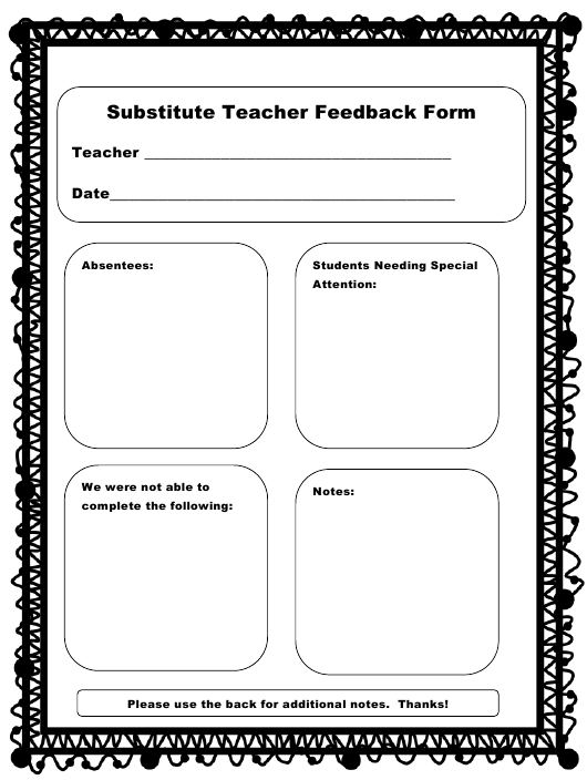 """Substitute Teacher Feedback Form"" Download Pdf"