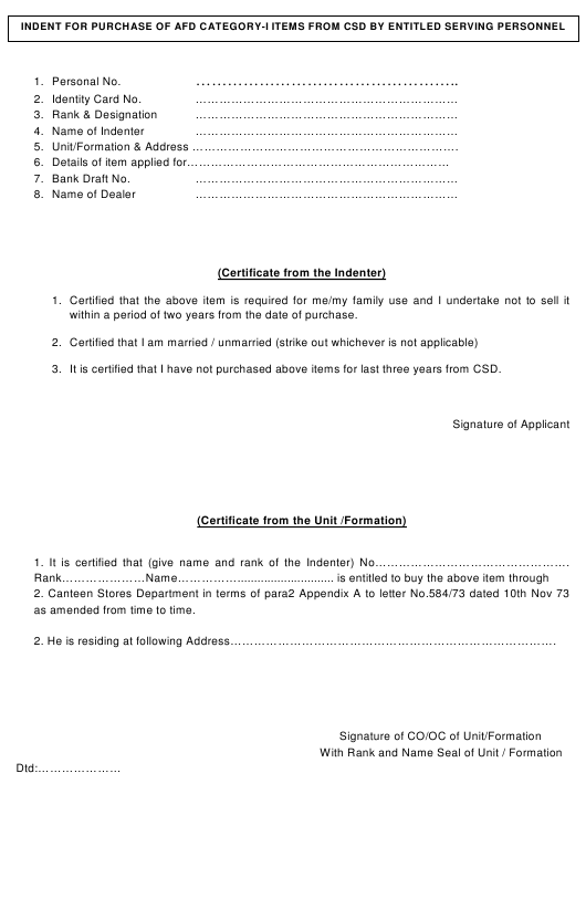"""Indent Forms for AFD Items"" - India Download Pdf"