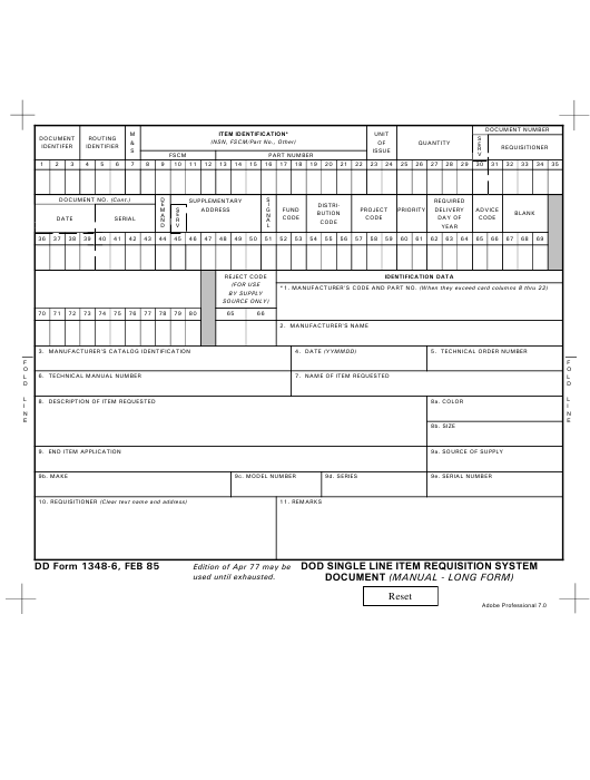 DD Form 1348-6 Download Fillable PDF or Fill Online DoD ... Printable Blank Dd Form Example on blank da form mil forms, sample dd form 1348, navy dd form 1348,