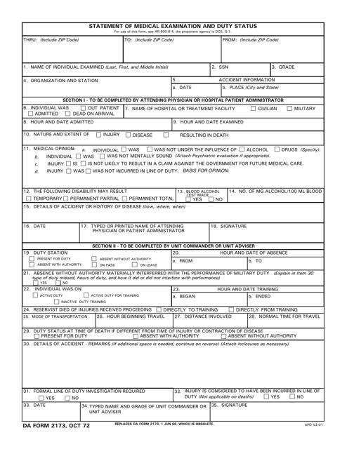 DA Form 2173 Printable Pdf
