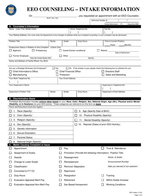 EEO Counseling Intake Form Download Pdf
