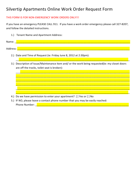 Work Order Request Form Download Pdf