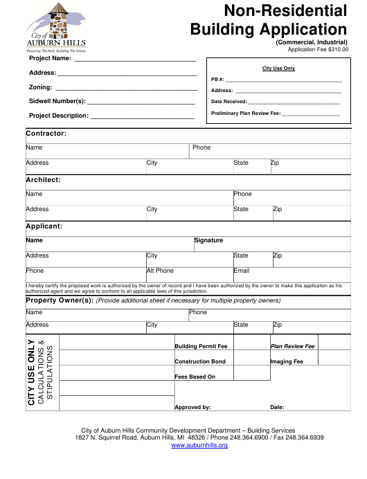 """""""Non-residential Building Application Form"""" - City of Auburn Hills, Michigan Download Pdf"""