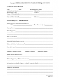 Sample Critical Incident Management Request Form - Idaho