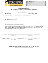 """Concussion Awareness Parent/Student-Athlete Acknowledgement Statement Form"" - Maryland"