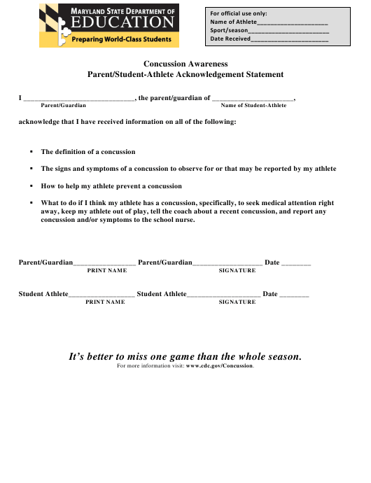 """Concussion Awareness Parent/Student-Athlete Acknowledgement Statement Form"" - Maryland Download Pdf"