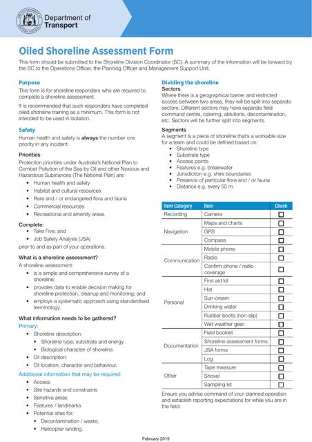 """Oiled Shoreline Assessment Form"" - Western Australia, Australia Download Pdf"