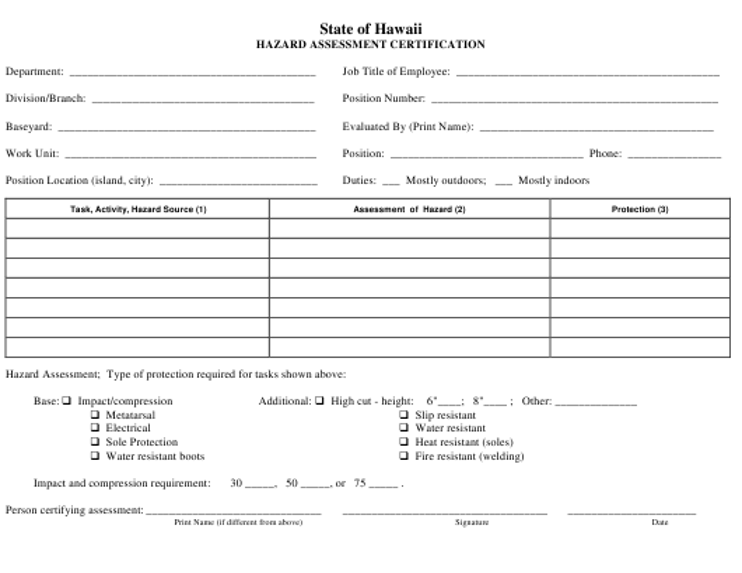 Hazard Assessment Certification Form - Hawaii Download Pdf