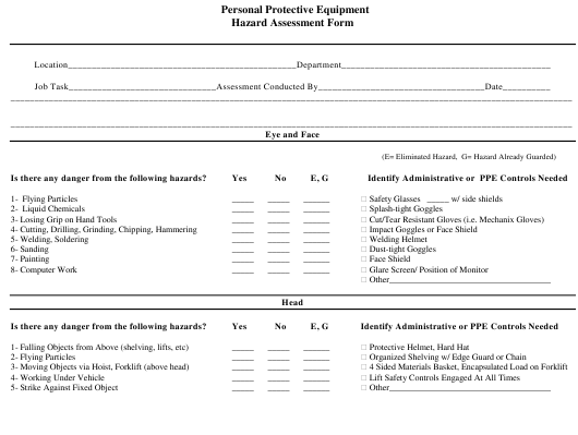 """Personal Protective Equipment Hazard Assessment Form"" Download Pdf"