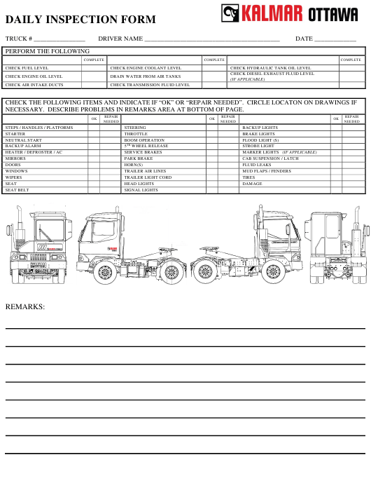 """Daily Inspection Form - Kalmar Ottawa"" - Canada Download Pdf"