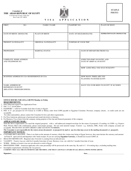 """""""Egyptian Visa Application Form - Consulate of the Arab Republic of Egypt"""" - New York City Download Pdf"""