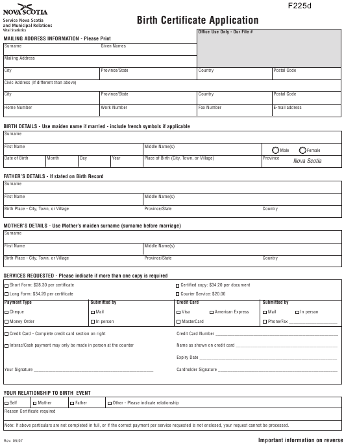 Birth Certificate Application - Nova Scotia Canada Download Pdf