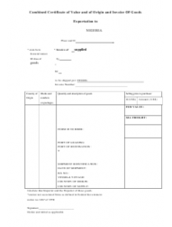 Combined Certificate of Value and of Origin and Invoice of Goods (Exportation to Nigeria)