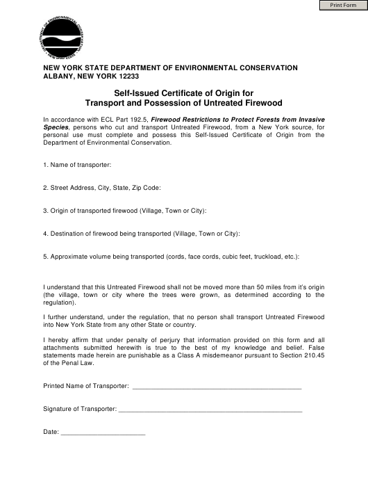 """Self-issued Certificate of Origin Form for Transport and Possession of Untreated Firewood"" - New York Download Pdf"