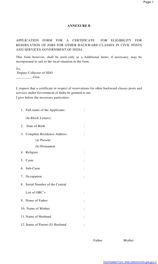 """Application Form for a Certificate for Eligibility for Reservation of Jobs for Other Backward Classes in Civil Posts and Services"" - Goa, India Download Pdf"