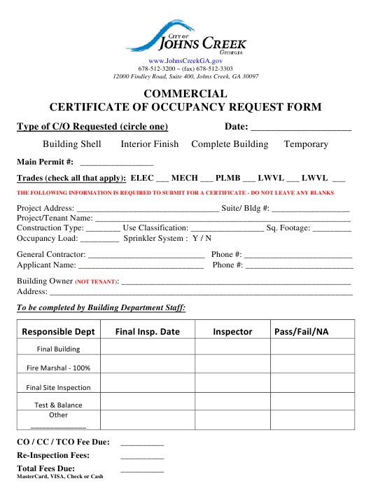 Commercial Certificate of Occupancy Request Form - City of Johns Creek, Georgia Download Pdf
