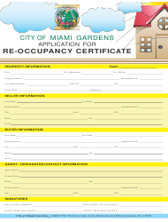 """Re-occupancy Certificate Application Form"" - City of Miami Gardens, Florida, Page 2"