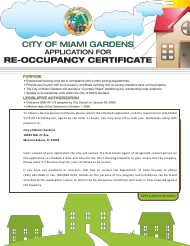 """Re-occupancy Certificate Application Form"" - City of Miami Gardens, Florida"