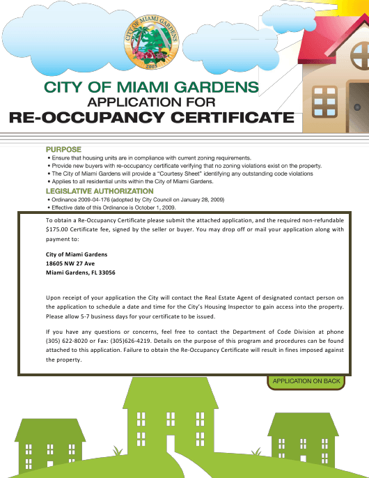 Re-occupancy Certificate Application Form - MIAMI GARDENS, Florida Download Pdf