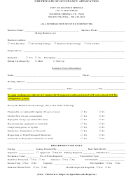 """Certificate of Occupancy Application Form"" - City of Sulphur Springs, Texas"