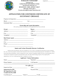 Application Form for Continued Certificate of Occupancy (Resale) - Township of Winslow, New Jersey