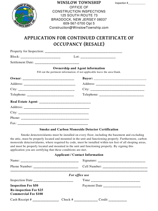 Application Form for Continued Certificate of Occupancy (Resale) - Township of Winslow, New Jersey Download Pdf