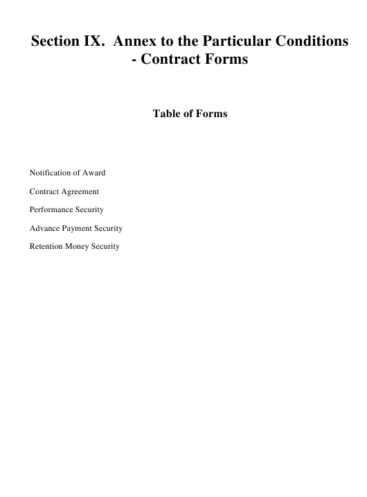 Contract Templates - Annex to the Particular Conditions Download Pdf
