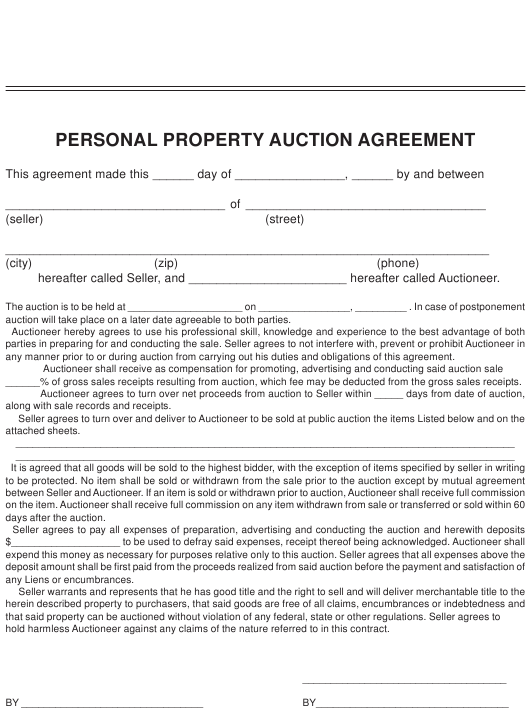 Personal Property Auction Agreement Template Download Pdf