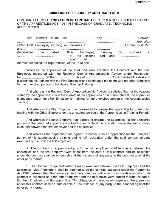 """Contract Form for Novation of Contract"" Download Pdf"