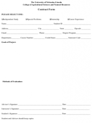 Student Project Contract Form - the University of Nebraska-Lincoln