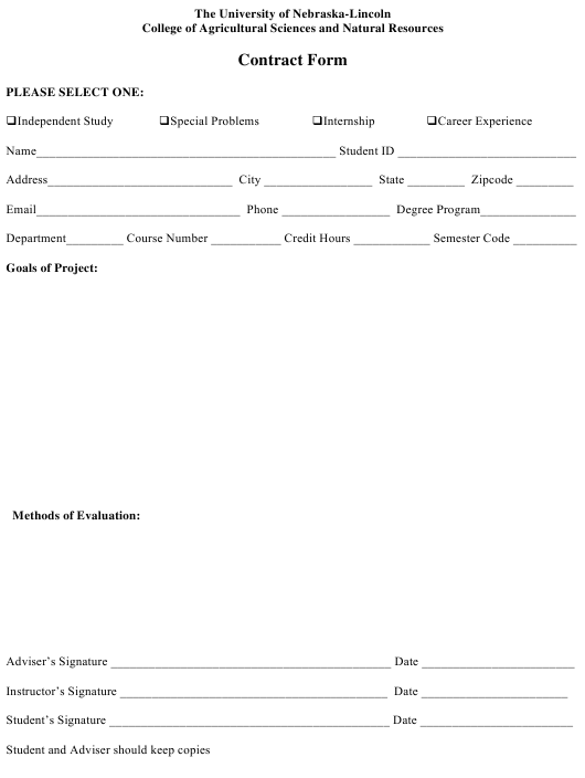 """""""Student Project Contract Form - the University of Nebraska-Lincoln"""" Download Pdf"""
