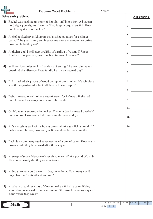 """""""Fraction Word Problems Worksheet With Answer Key"""" Download Pdf"""