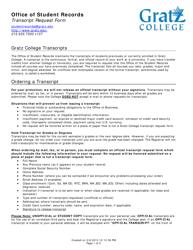 Transcript Request Form - Gratz College - Pennsylvania