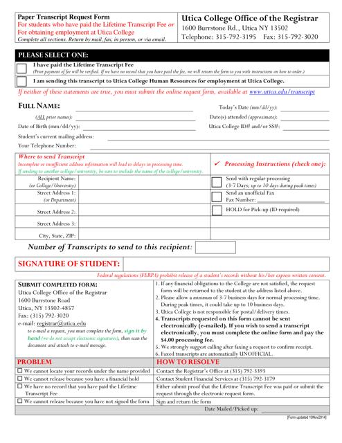 """Paper Transcript Request Form - Utica College Office of the Registrar"" - New York Download Pdf"